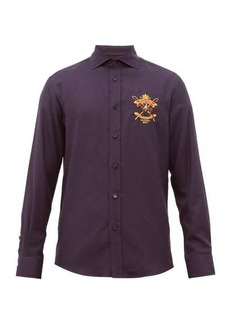 Ralph Lauren Purple Label Crest-embroidered cotton-blend shirt
