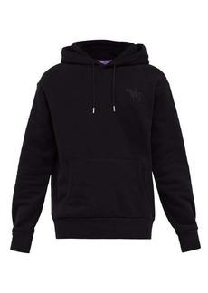 Ralph Lauren Purple Label Logo-embroidered hooded cotton-blend sweatshirt