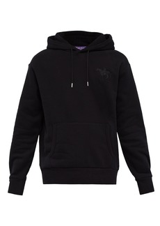 Ralph Lauren Purple Label Logo-embroidered hooded cotton-blend sweatshirt