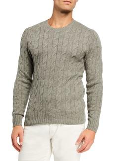 Ralph Lauren Purple Label Men's Cashmere Cable-Knit Crewneck Sweater  Light Gray Heather