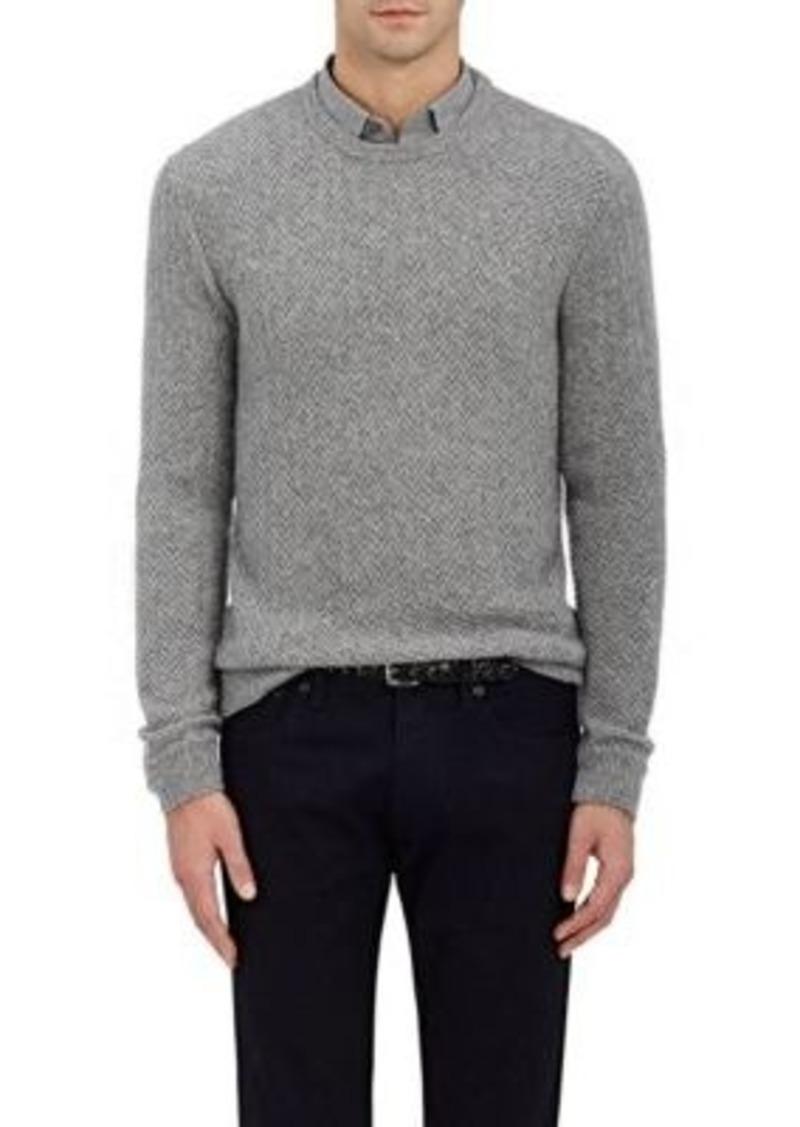 Stitched Cashmere Purple Herringbone Men's Sweater Label 5AjL34R