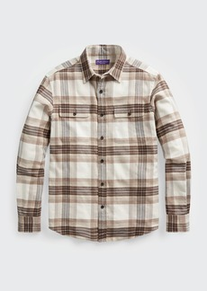 Ralph Lauren Purple Label Men's Cooper Plaid Work Shirt w/ Suede Elbow Patches