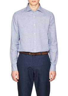 Ralph Lauren Purple Label Men's Slim Houndstooth Cotton-Linen Shirt
