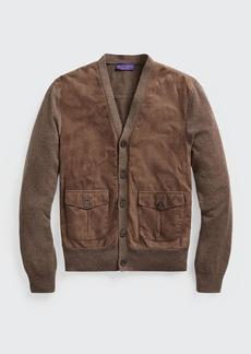 Ralph Lauren Purple Label Men's Suede-Front Cashmere Cardigan Sweater