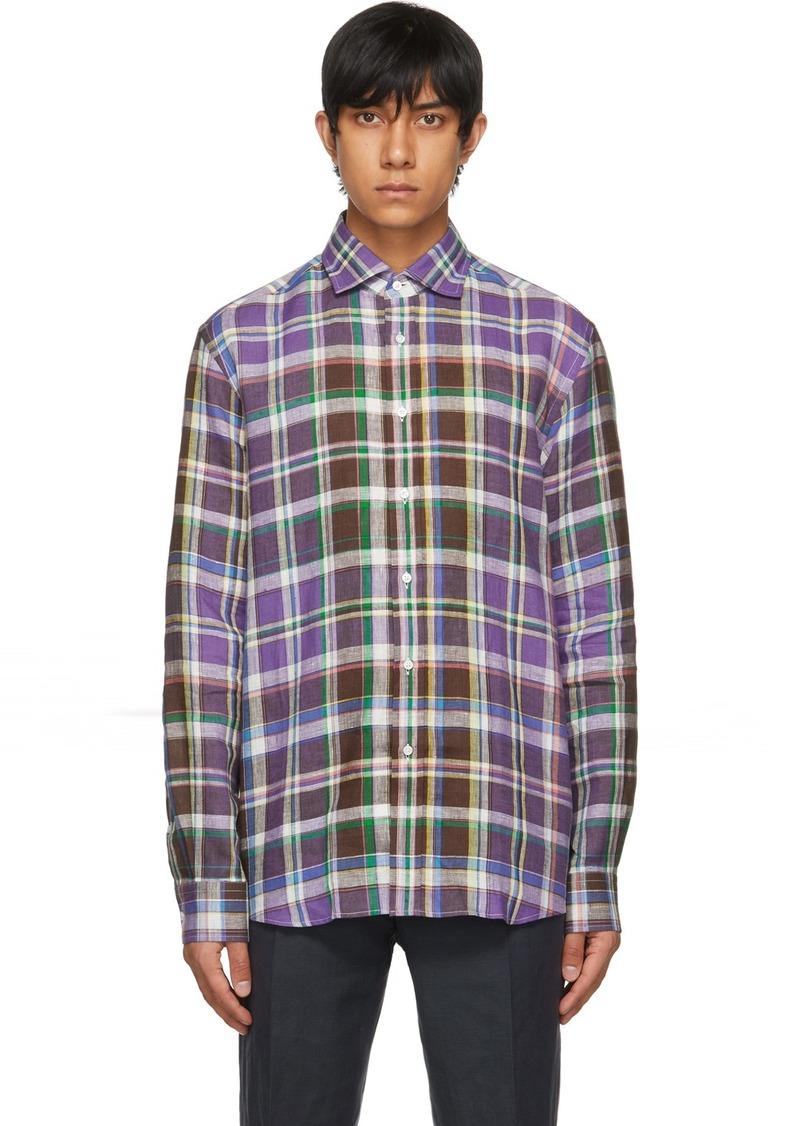 Ralph Lauren Purple Label Purple Linen Plaid Shirt