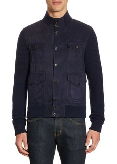 Ralph Lauren Suede-Front Cashmere Sweater