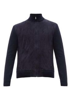 Ralph Lauren Purple Label Suede-front wool-blend zip-through jacket