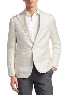 Ralph Lauren Tonal Houndstooth Silk Jacket