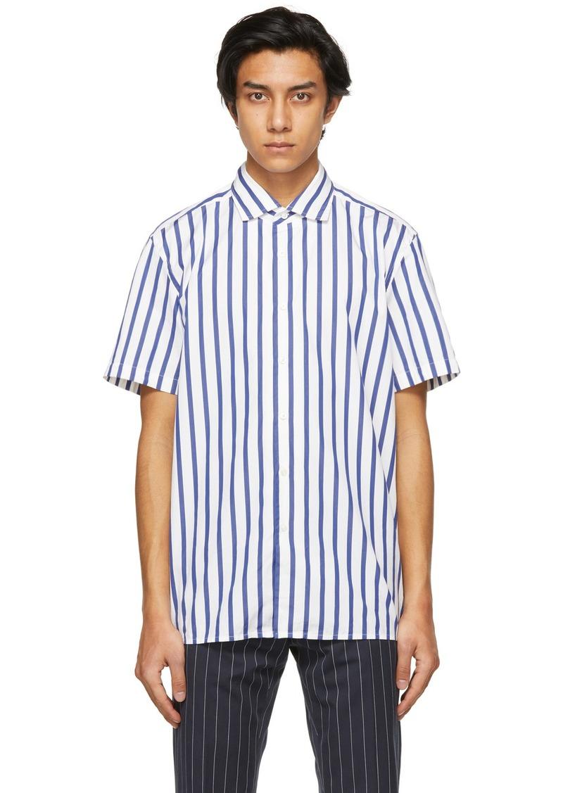 Ralph Lauren Purple Label White & Blue Capri Striped Short Sleeve Shirt
