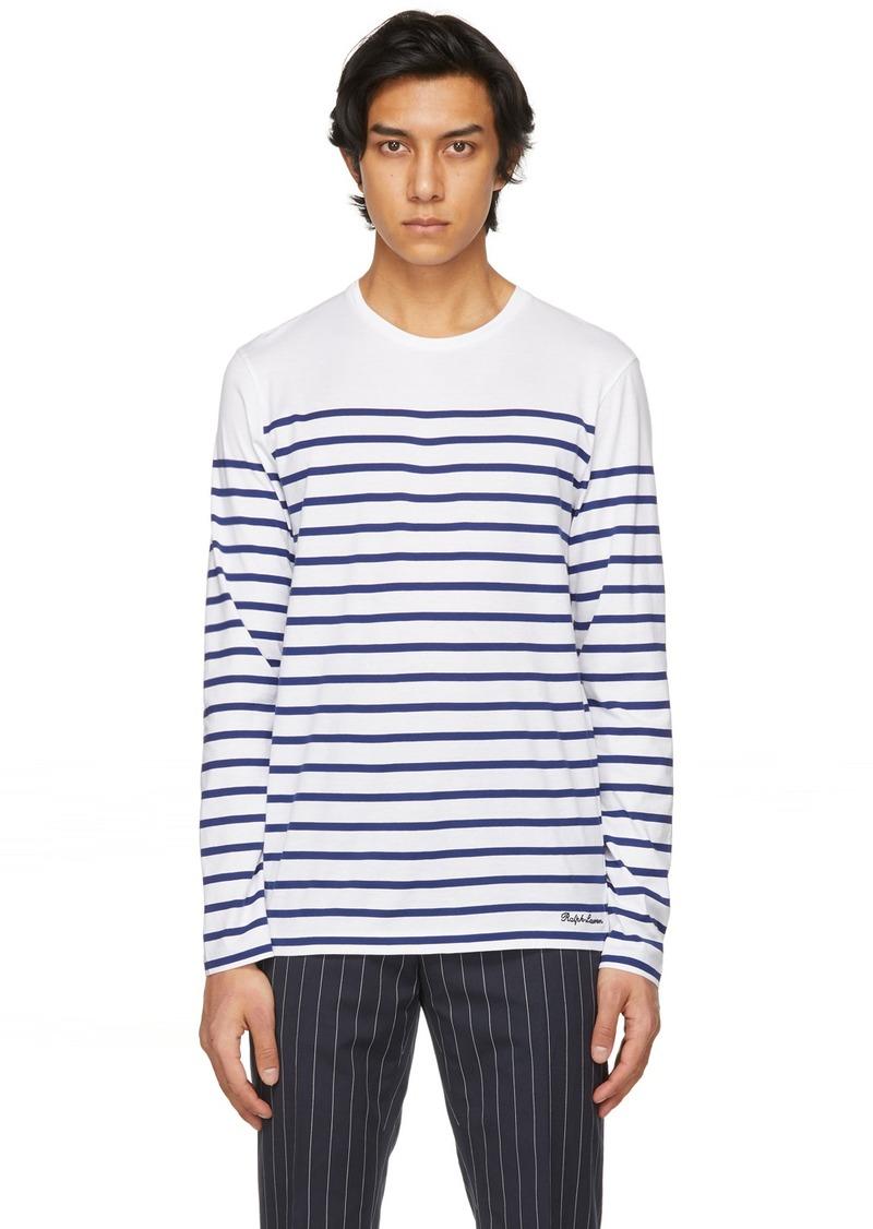 Ralph Lauren Purple Label White & Navy Striped Lisle Long Sleeve T-Shirt