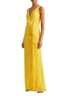Lauren Ralph Lauren Ruffle Trim Georgette Gown