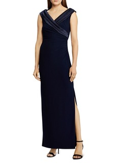 Ralph Lauren Satin Portrait-Collar Gown