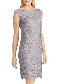 Ralph Lauren Scalloped Lace Sheath Dress