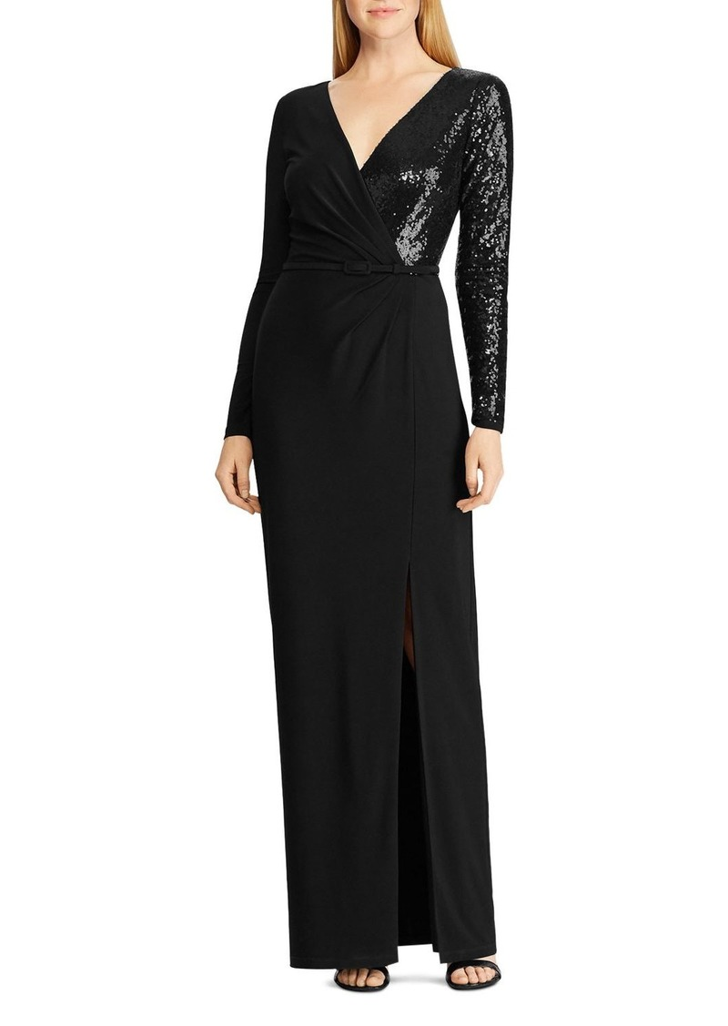 Ralph Lauren Sequined Long-Sleeve Gown