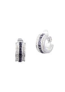 Ralph Lauren Silvertone Rhinestone Clip Earrings