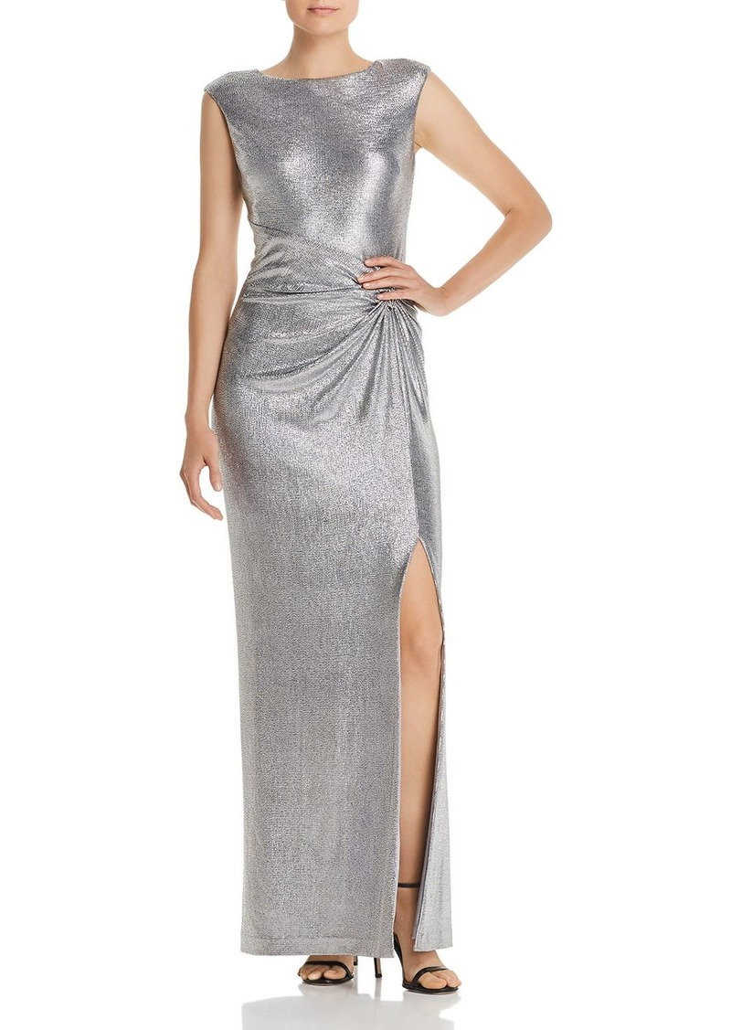 Lauren Ralph Lauren Draped Metallic Gown