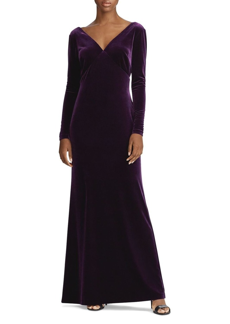 Ralph Lauren Stretch Velvet Long Sleeve Gown