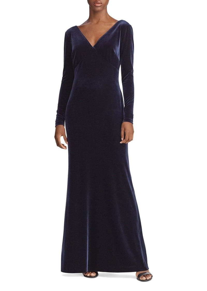 Ralph Lauren Stretch Velvet Long Sleeve Gown