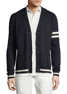 Ralph Lauren Striped-Trim Wool Varsity Cardigan
