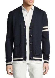 Ralph Lauren Striped-Trim Wool Varsity Cardigan