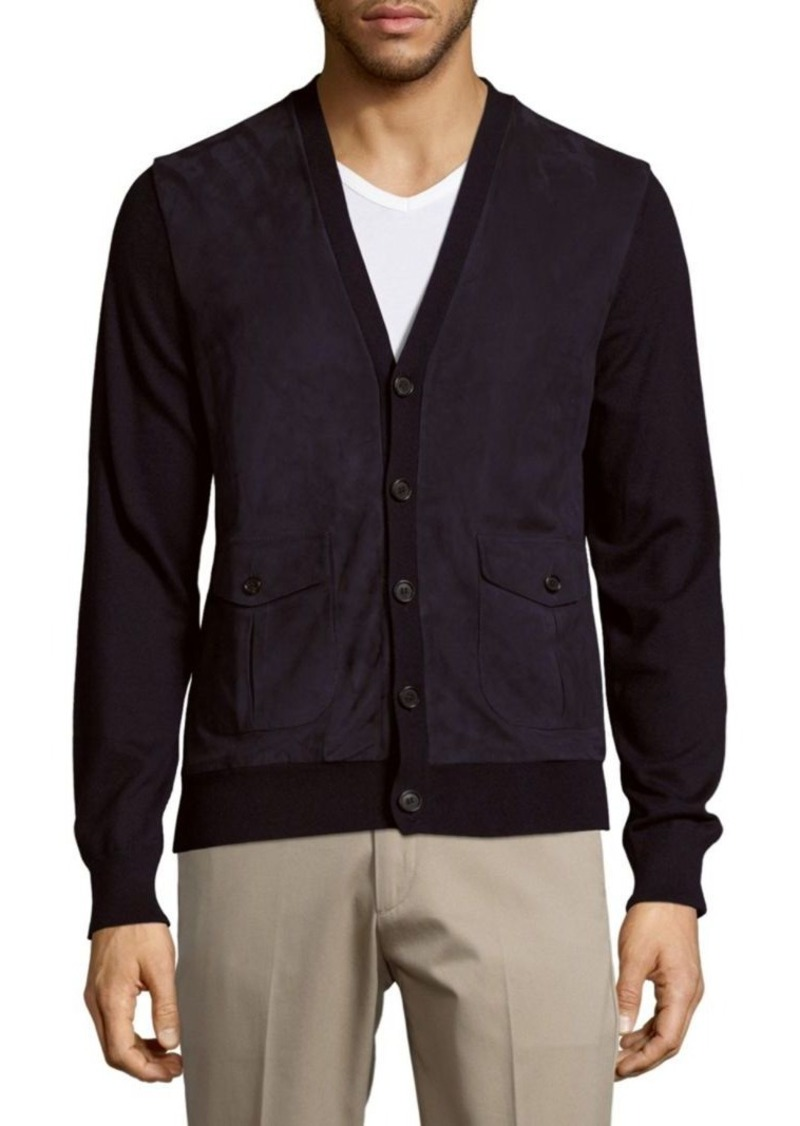 14278fc3c1d2 Purple Label Suede   Cashmere Button-Down Lamb Fur Cardigan. Ralph Lauren