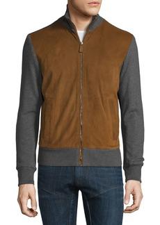 Ralph Lauren Suede-Panel Front-Zip Sweater