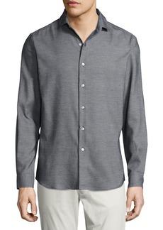 Ralph Lauren Textured Silk-Cotton Sport Shirt  Black