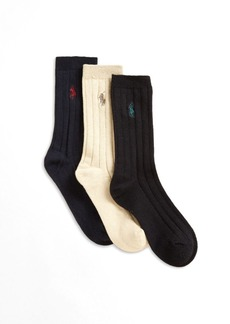 Ralph Lauren Toddler's, Little Boy's & Boy's Three-Pair Slack Ribbed Socks