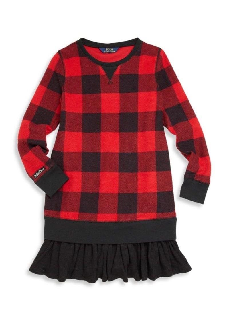 42b1c7070 Ralph Lauren Toddler's, Little Girl's & Girl's Buffalo Check Ruffle  Sweatshirt Dress