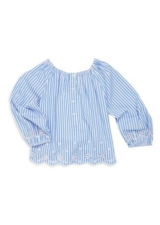 Ralph Lauren Toddler's, Little Girl's & Girl's Eyelet Embroidered Bengal Stripe Top