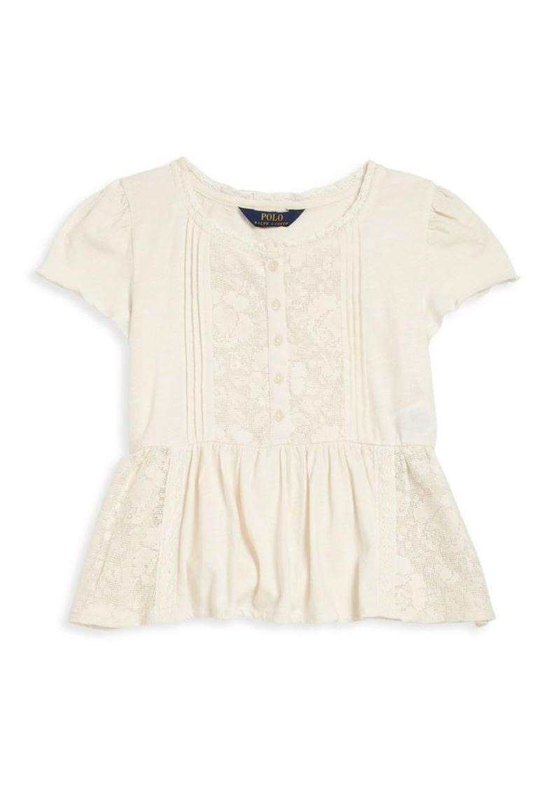 Ralph Lauren Toddler's, Little Girl's & Girl's Lace Inset Peplum Top