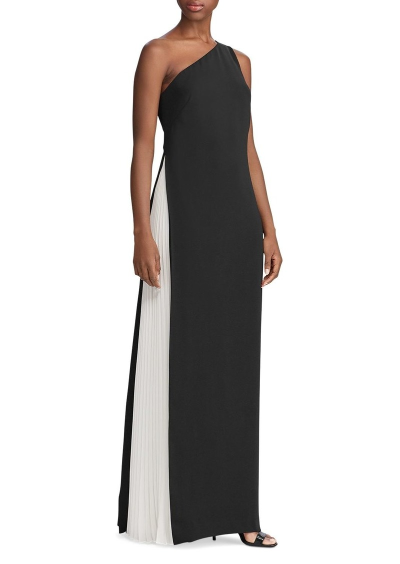 Lauren Ralph Lauren Two-Tone One-Shoulder Gown