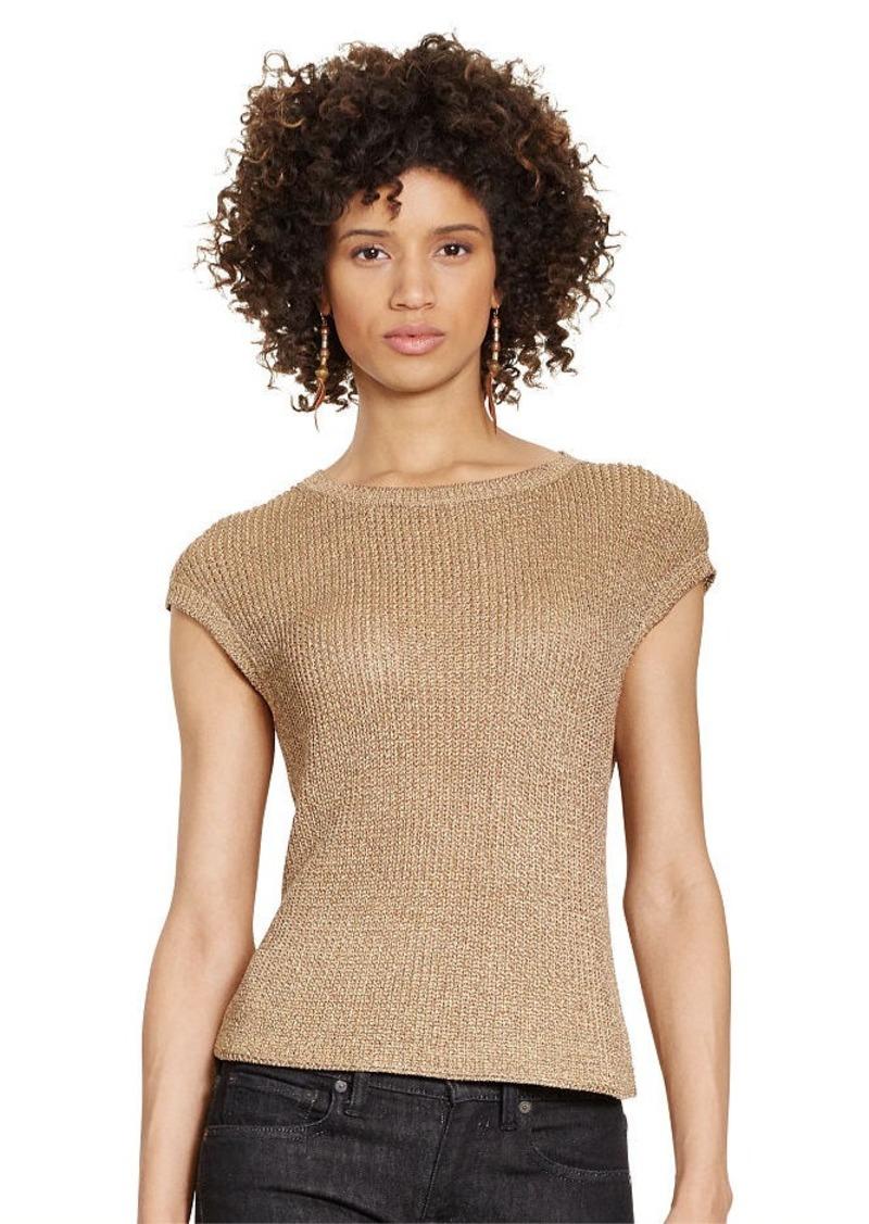 Ralph Lauren Ribbed Cap-Sleeve Sweater