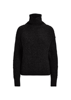 Ralph Lauren Ribbed Cashmere & Wool Turtleneck Sweater