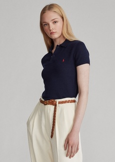 Ralph Lauren Ribbed-Hem Cashmere Polo Shirt