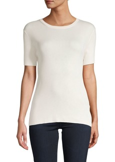 Ralph Lauren Ribbed Silk Short-Sleeve Sweater