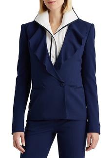 Ralph Lauren Roberts Wool Crepe Ruffled Jacket