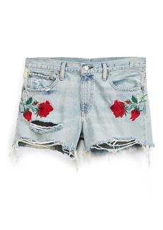 Rose-Embroidered Denim Short