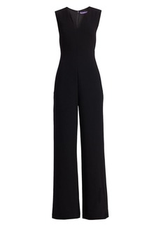 Ralph Lauren Rowen V-Neck Doubleface Stretch Wool Jumpsuit
