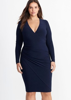 Ruched Surplice Jersey Dress