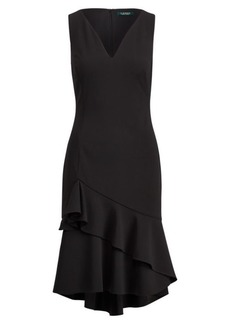 Ralph Lauren Ruffle-Hem Crepe Dress