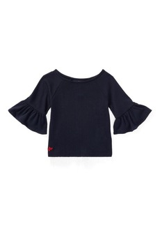 Ralph Lauren Ruffle-Sleeve Cotton Top