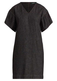 Ralph Lauren Ruffle-Sleeve Denim Dress