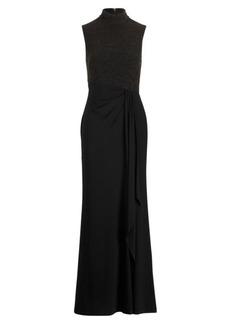 Ralph Lauren Ruffle-Trim Mockneck Gown
