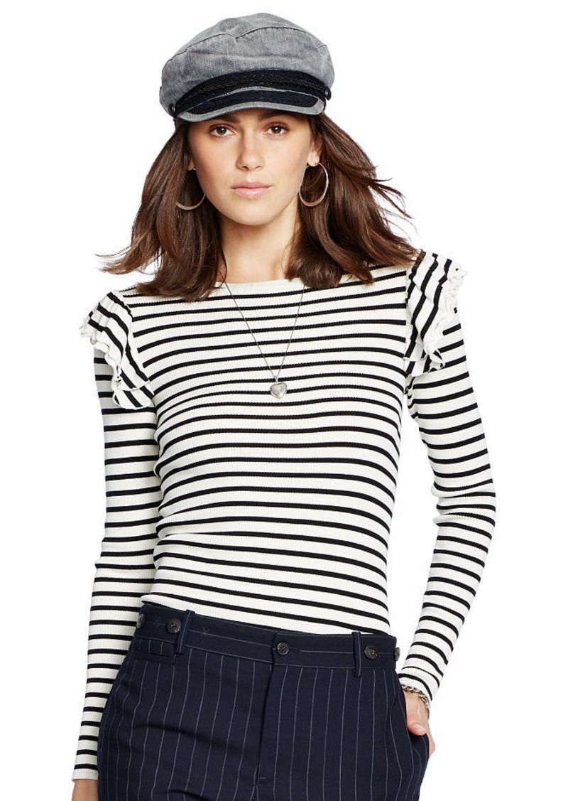 Ralph Lauren Ruffle-Trim Striped Silk Top