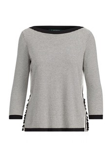 Ralph Lauren Ruffle-Trim Striped Sweater