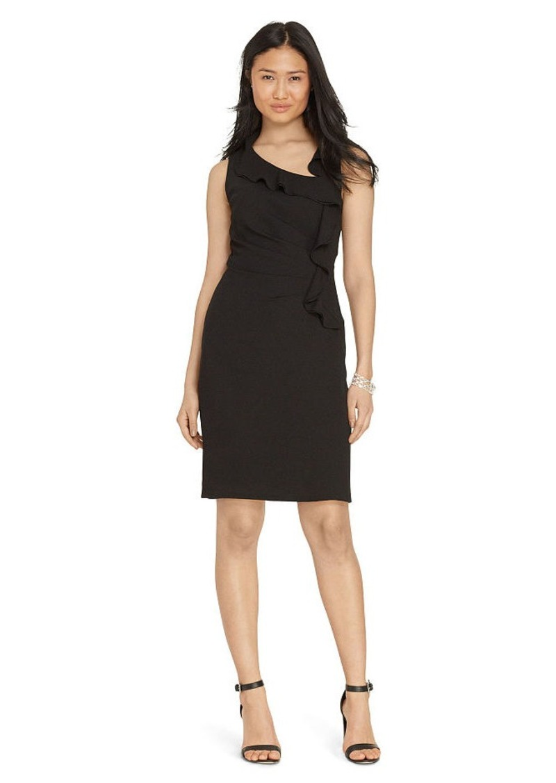 Ralph Lauren Ruffled Crepe Sheath Dress
