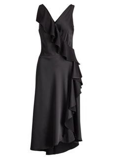 Ralph Lauren Ruffled Crepe Sleeveless Dress