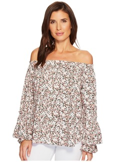 Ralph Lauren Ruffled-Cuff Floral Jersey Top