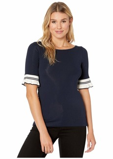 Ralph Lauren Ruffled-Cuff Stretch Cotton Top